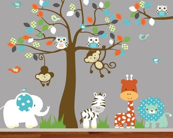Jungle wall decal tree giraffe,elephant,monkey nursery wall decal sticker vinyl tree jungle decals