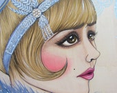 The Great Gatsby Daisy Buchanan Art Deco Original 11x14x1 Painting on Wooden Cradle Board
