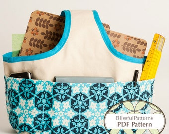 Fabric Handle Basket PDF Sewing Pattern - two sizes - INSTANT DOWNLOAD - by BlissfulPatterns