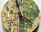 Clock made from a vintage map of Sydney, Australia.   Wooden wall clock.