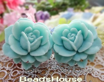 20% off 638-00-CA  2Pcs Beautiful Vintage Style Rose Cabochon-Blue