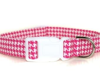 Pink Houndstooth Custom Dog Collar