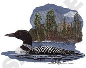 Loon Embroidered Terry or Linen Hand Towel -- You Pick the Color & Fabric----Free Shipping