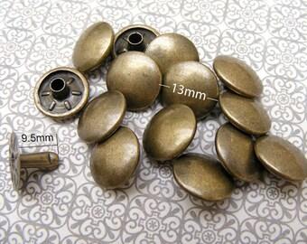 100 sets 13mm Antique brass curve Round Rapid Rivet Stud