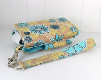 The Errand Runner - Cell Phone Wallet - Wristlet - for iPhone/Android - Aqua Floral on Tan/Aqua
