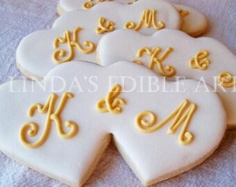 Double Hearts with Monogram (1 Dozen)