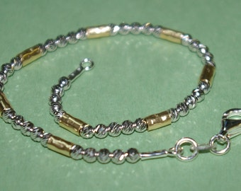 Sterling Silver 925 Rhodium Plated Laser Cut Beads and 14kt Gold Filled Hammered Tubes Two Tone BRACELET - Made to your size - Free Shipping