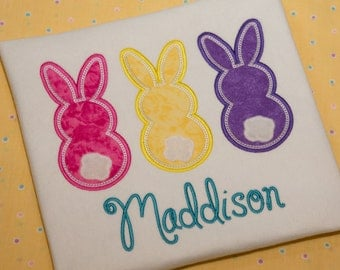 Bunny Trio Applique Machine Embroidery Design