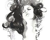 Fashion Watercolor Print, Fashion Illustration Print, Fashion Art Print Fashion sketch, Black and white watercolor, fashion wall art