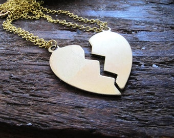 Best Friends - Custom Engravable Brass Heart Halves Charm Necklaces