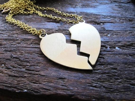 Best Friends - Custom Engravable Brass Heart Halves Charm Necklaces