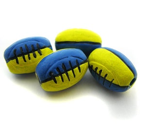 4 Ceramic Rugby Beads - Blue and Yellow