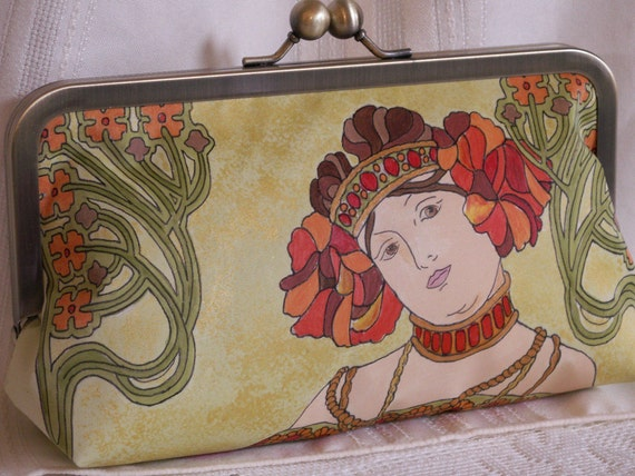 Hand painted, handmade clutch handbag. Alphonse Mucha. Red, orange, green, gold, brown.  L'AUTOMNE by Lella Rae on Etsy