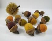RUSTIC Set of 10 Felt Acorns in Burnt Orange, Yellow, Brown, Moss Green - Home Garden Decor