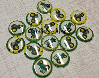 """Tractor 1"""" Buttons, Tractors, Tractor Buttons, Tractor Pins, Tractor Flatbacks, Tractor Pinbacks, Tractor Party, Tractor Party Favor, Pins"""