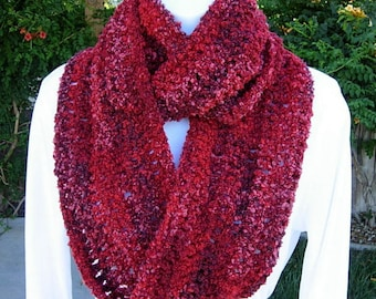 Lightweight Red Infinity Scarf Loop Cowl, Dark, Bright, Wine Red, Raspberry Pink Striped Crochet Knit Winter Circle, Ready to Ship in 2 Days