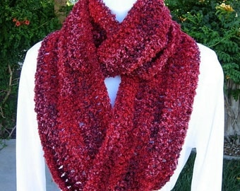 RED INFINITY SCARF Loop Cowl, Dark, Bright & Wine Red, Raspberry Pink Striped Boucle' Crochet Knit Winter Endless Circle Wrap..Ready to Ship