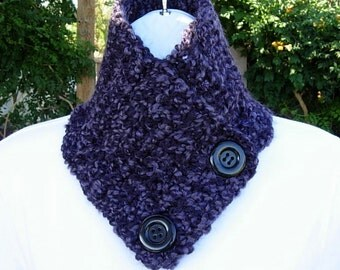 NECK WARMER Scarf, Buttoned Cowl Dark Purple Black, COLOR Options, Soft Handmade Crochet Knit Winter, with Buttons..Ready to Ship in 2 Days