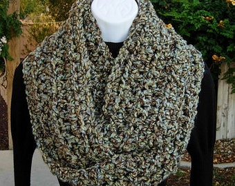 COWL SCARF Infinity Loop Dark Taupe Brown, Tan, Pale Blue & Green Soft Thick Winter Crochet Knit Circle Neck Wrap..Ready to Ship in 2 Days