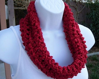 SUMMER COWL SCARF, Solid Red Small Short Infinity Loop, Handmade Crochet Knit, Soft Lightweight Spring Neck Warmer..Large Size Available