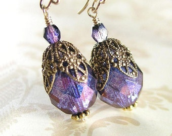 Blue Purple Earrings Antique Amethyst Czech Glass Earrings Antique Gold Earrings Victorian Filigree