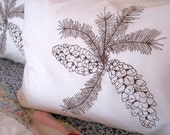 Screen Printed Pillowcases (set of 2 standard) - Pillow Covers - Eco Friendly Bedding - Pinecone - Natural Cotton Pillowcase - Handmade