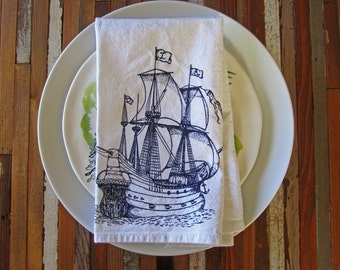 Cloth Napkins - Screen Printed Napkins - Eco Friendly Dinner Napkins - Cloth Napkin Set - Pirate Ship - Nautical - Christmas Table Setting