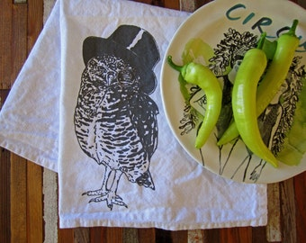 Cotton Cloth Napkins - Screen Printed Dinner Napkins - Eco Friendly Table Linens - Handmade  - Woodland Owl - Screenprint - Printed Napkins