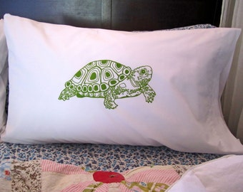 Screen Printed Pillowcases - Standard Pillowcases - Pillow Covers - Eco Friendly Bedding - Turtle - Natural Cotton Pillowcase - Sham - Cover