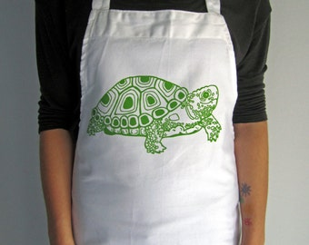 Screen Printed Cotton Apron - Natural Cotton Twill - Turtle - Eco Friendly - Kitchen Apron - Handmade - Full Apron - Baking - Dinner Party