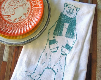 Tea Towel - Screen Printed Flour Sack Towel - Kitchen Towel - Polar Bear - Christmas Tea Towel - Dish Towel - Flour Sack - Holiday Decor
