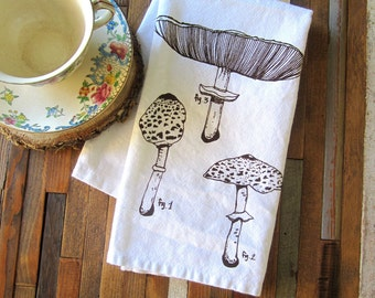 Cloth Napkins - Screen Printed Napkins - Eco Friendly Dinner Napkins - Mushroom - Table Setting - Botanical - Cloth Napkin Set - Napkins