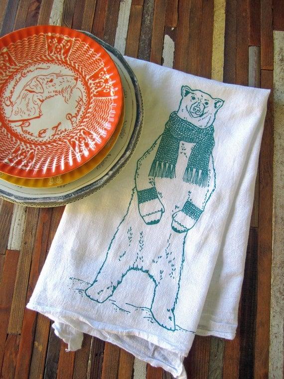 Tea Towel - Screen Printed Flour Sack Towel - Kitchen Towel - Polar Bear - Christmas Tea Towel - Dish Towel - Flour Sack - Holiday Decor