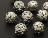 ME-151-OR / 2 Pcs - Carved Lotus Ball Bead, Silver Plated over Brass / 11mm