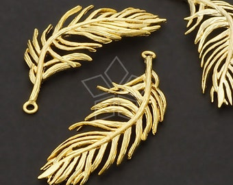 PD-576-MG / 2 Pcs - Orchid Leaf Pendant, Matte Gold Plated / 36mm x 13mm