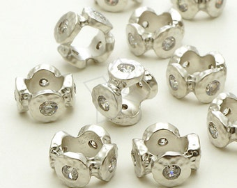 ME-173-MS / 2 Pcs - Stone Age Rough CZ Rondele Bead, Matte Silver Plated over Brass / 10mm