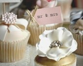 Mr & Mrs Party Picks - blush pink with gold bows - set of 10