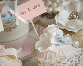 Mr & Mrs Party Picks - blush pink with ivory bows - set of 10