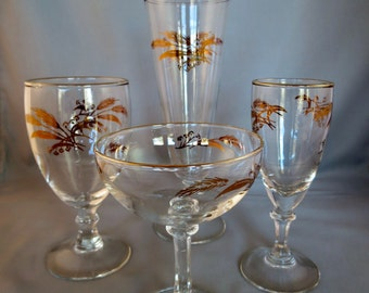 Vintage Gold Leaf Stemware - Four Sizes - Clear Glass with 22 kt Gold Rims and Wheat Leaf Design