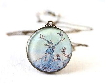 Reindeer Vintage Art Pendant Necklace - Cornflower Blue Stag against a Light Blue Sky
