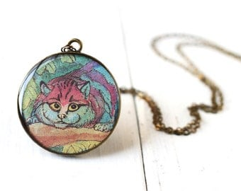 Cheshire Cat Vintage Art Pendant Necklace - Grinning Colorful Magenta Blue Alice in Wonderland Art Pendant