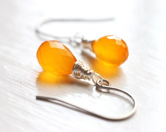 Bright Orange Chalcedony Teardrop Earrings, Bridesmaid Jewelry for Fall Weddings - Pumpkin Patch