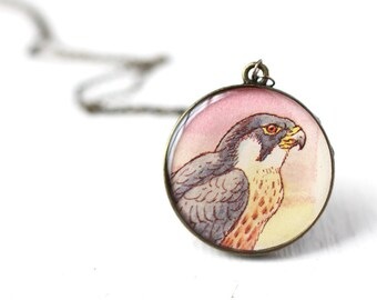 Falcon Bird Vintage Art Pendant Necklace, for People that Loves Birds, Pendant in Pink, Orange and Purple