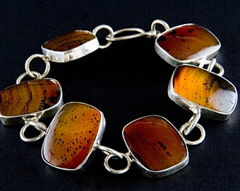 Red Montana Agate Sterling Silver Bracelet