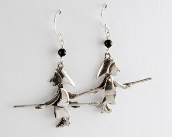 Flying Witches Sterling Silver Earrings