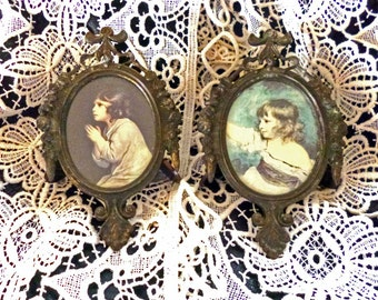 Pair of Vintage Mini Bronze Metal Picture Frames