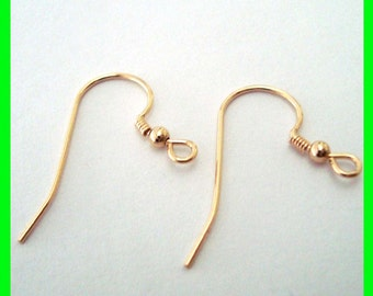 10pcs 14k yellow Gold Filled french hook Earring Ear Wire with bead and coil  GE35