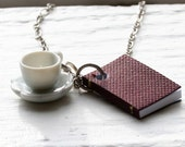 Book and Tea Cup Necklace, Burgundy Maroon Book Necklace, Miniature Book Necklace, Teacup Necklace, Coffee Cup Necklace