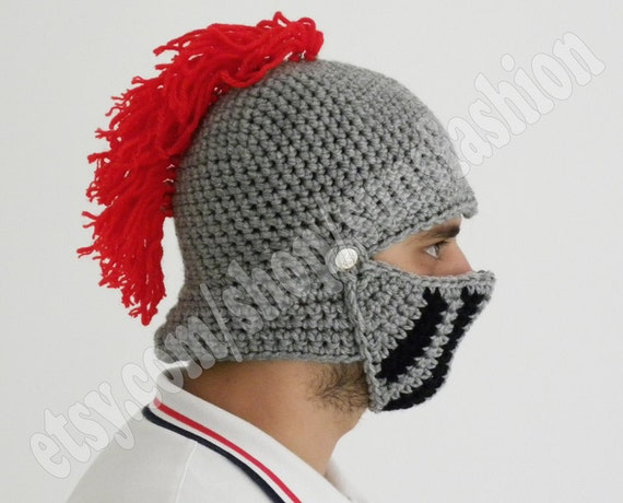 gift Winter hat Knight Helmet Hat Mens hat Brother gift Crochet ...