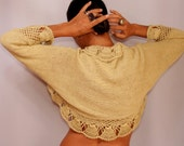 Knit Shrug, Crochet Shrug, Wedding Bridal Shrug Bolero, Yellow, Charcoal, 3/4 Sleeve Crochet Bolero, Sweater Shrug, Crochet Cardigan  S M L